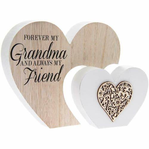 The Leonardo Collection Laser Cut Woodcraft Heart Plaque - Forever my GRANDMA